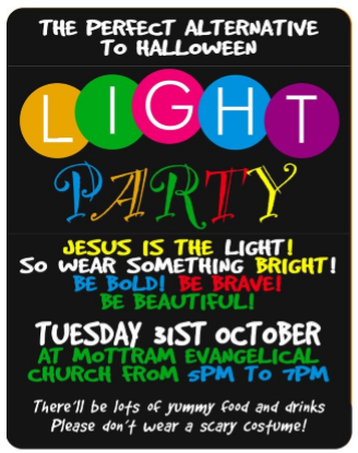 Light Party Tuestday 31st October 5pm to 7pm